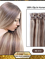 Light Brown/Blonde Hair Extensions #8/613 - 100% Remy Hair Extensions - Remy Clip In Hair Extensions