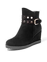 Zapatos de mujer - Tacón Cuña - Cuñas / Punta Redonda / Botas a la Moda - Botas - Vestido / Casual - Ante Sintético - Negro / Marrón