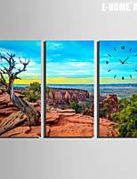 E-HOME® Stone Mountain And Sea Clock in Canvas 3pcs