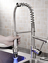 Personalized Contemporary Kitchen Faucet Nickel Brushed Finish Single Handle LED Pull-out spout