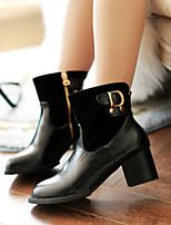 Women's Shoes Fleece Chunky Heel Fashion Boots/Round Toe Boots Dress/Casual Black/Brown
