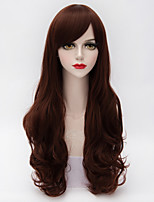 Long Curly Full Bang Hair Black Mixed Red Gradient Synthetic Lolita Fashion Party Lady Wig