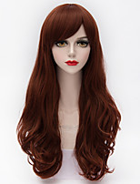 Long Loose Curly Side Bang Hair  Orange&Brown Gradient Synthetic Lolita Party Women Wig