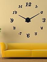 Uermerstar DIY 3D Big Digital  Sticker Wall Clock Black Color Diameter 39 in Modern Style