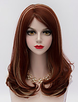 Fashion Party Medium Long Curly Side Bang Hair Auburn Highlights Synthetic Harajuku Lolita  Charming Women Wig