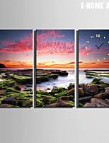 Rettangolare Moderno/Contemporaneo Orologio da parete , Altro Tela 30 x 60cm(12inchx24inch)x3pcs /40 x 80cm(16inchx32inch)x3pcs