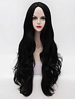80cm de largo floja u ondulado parte pelo negro del partido de moda elegante peluca sintética