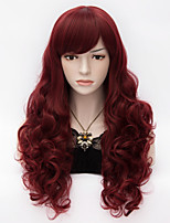 Sexy Women Long Kinky Curly Side Bang Hair Heat Resistant Synthetic Wine Red Harajuku Wig