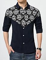 Men's Korean Fashion Print Slim Long-Sleeve Shirt