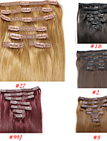 100g 7pcs/lot Brazilian Straight Hair Lace Clip In Hair Extensions #1B #4 #10 #27 #613 Soft Remy Clip In Hair Pieces