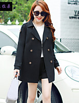 Women's Long Sleeve Cotton/Polyester Trench Coat , Vintage/Casual/Cute/Party/Work