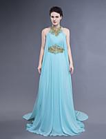 드레스 - 스카이 블루 A라인/시스/컬럼 바닥 길이 하이넥 쉬폰