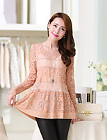 Women's Solid Pink/Black Blouse , Round Neck Long Sleeve Lace/Ruffle