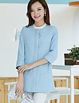 Women's Solid Blue / Pink / Yellow Blazer , Casual / Work Shirt Collar Long Sleeve