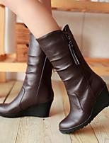 Zapatos de mujer - Tacón Cuña - Cuñas / Tacones / Punta Redonda - Botas - Exterior / Oficina y Trabajo / Casual - Semicuero -Negro /