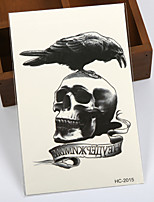 (1pcs) HOT Temporary Tattoo Waterproof Sexy Armhand Tattoo Body Art/Crow VS Skull/ Big Fake Tatoo Stickers