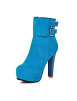 Women's Shoes  Stiletto Heel Fashion Boots/Round Toe Boots Dress Black/Blue/Red