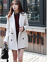 Women's Blue/White/Black Coat , Casual Long Sleeve Others