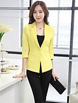 Women's Solid White / Green / Yellow Blazer , Casual / Work Shirt Collar Long Sleeve