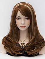 45cm Medium Long Curly  Wig Side Bang Dark Brown Glamour European Style  Wigs
