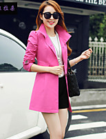 Women's Long Sleeve Polyester Trench Coat , Vintage/Casual/Cute/Party/Work