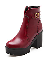 Women's Shoes Chunky Heel Fashion Boots/Round Toe Boots Dress Black/Yellow/Red