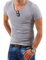 Herren Freizeit / Büro / Formal / Sport / Übergröße T-Shirt  -  Einfarbig Kurz Baumwollmischung