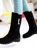 Chaussures Femme - Extérieure / Bureau & Travail / Décontracté - Noir / Marron - Talon Plat - Bottes de Neige / Bout Arrondi - Bottes -