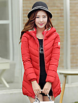 Women's Hoodie Slim Thin Thick Long Sleeve Down Coat , Casual/Cute/Work Cotton/Polyester/Feather