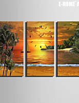 E-HOME® Seaside Scenery in The Setting Sun Clock in Canvas 3pcs