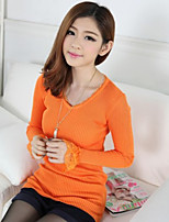 Women's Solid Orange Pullover , Sexy Long Sleeve