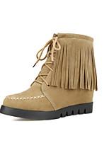 Zapatos de mujer - Tacón Cuña - Punta Redonda / Botas a la Moda - Botas - Vestido - Ante Sintético - Negro / Marrón / Amarillo
