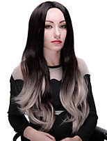 Ombre Wigs Black and Gray Heat Resistant Fiber Synthetic Wig 28 Inch Fashion Long Wave with Full Bangs