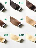 2.5g / pc 20st / pak 50g / lot brazilian menselijk haar tape hair extensions steil haar # 1b, # 2, # 27, # 33, # 613,