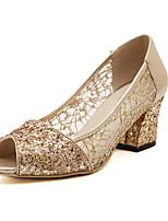 Women's Shoes Lace/Glitter Chunky Heel Heels/Peep Toe Pumps/Heels Outdoor/Dress Black/Gold