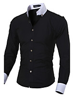 Men's Long Sleeve Shirt , Cotton Blend Casual / Work / Formal / Sport / Plus Sizes Pure