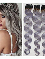 3Pcs/Lot Wholesale Virgin Brazilian Ombre Hair Weaves Body Wave 1B/Grey Two Tone Ombre Hair Extensions