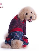 Casacos / Calças - Inverno - Vermelho / Verde - Casamento / Fantasias - de Algodão / Malha polar - para Cães / Gatos -S / M / L / XL /