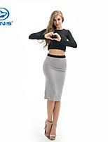 CANIS@Sexy Women's Long Sleeve O Neck Bodycon Tops+Skirt Set