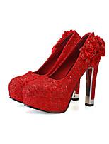 Women's Shoes Synthetic Chunky Heel Heels Pumps/Heels Outdoor/Dress Red