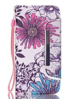 EFORCASE Big Purple Flower Split Lanyard Painted PU Phone Case for Galaxy S6 edge S6 S5 S4 S3 S5 mini S4 mini
