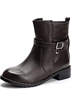 Women's Shoes Chunky Heel Motorcycle Boots/Round Toe Boots Casual Black/Brown/Red/Taupe