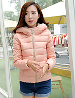 Women's Hoodie Slim Thin Long Sleeve Down Coat , Casual/Cute/Work Cotton/Polyester/Feather