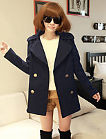 Women's Solid Blue Coat , Casual Long Sleeve Cotton Blends