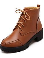 Calçados Femininos - Botas - Coturno / Arrendondado - Salto Grosso - Preto / Amarelo / Cinza - Courino - Casual