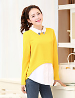 Women's Patchwork Blue/Black/Yellow Blouse , Shirt Collar Long Sleeve Layered