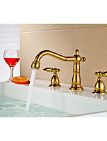 Bathroom Gold finish Dual Handle Three Hole Basin Faucet