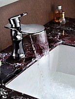 Shengbaier Bathroom Sink Faucet Contemporary Design Waterfall (Chrome Finish)