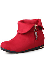 Women's Shoes  Wedge Heel Fashion Boots/Round Toe Boots Dress Black/Blue/Purple/Red