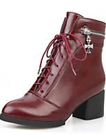 Chaussures Femme - Extérieure / Bureau & Travail / Habillé / Décontracté - Noir / Rouge / Blanc - Gros Talon - Confort / Bottes à la Mode